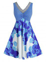 Plus Size Sequined V Neck Flower Print Dress -