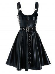 Sleeveless Half Zip Grommet Belted Faux Leather Dress -