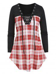 Lace Up Plaid Patch Curved T Shirt -