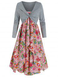 Flower Print Dress and Twist Front Cropped T-shirt -