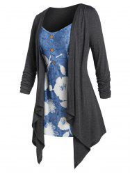 Plus Size Flower 2 In 1 Draped Waterfall Tunic Tee -