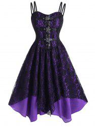 Lace Overlay Lace-Up Dual Straps Handkerchief Dress -