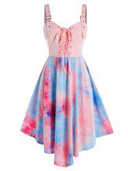 Plus Size Tie Dye Lace-up Buckle Eyelet Backless Dress -