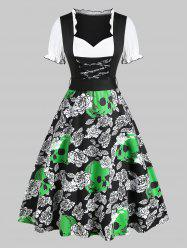 Floral Skull Print Lace Up Dirndl Dress -