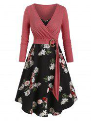 Floral Print Belted Two Piece Dress -