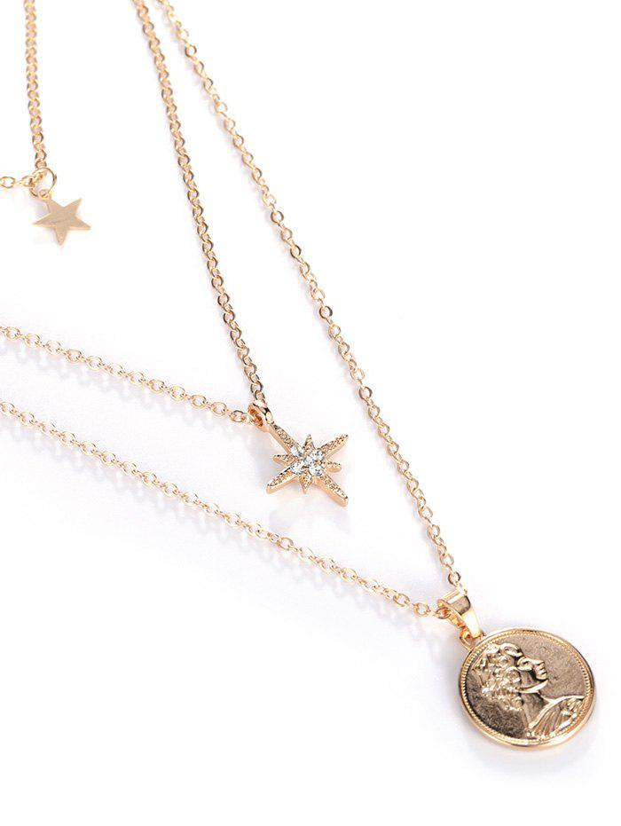 Trendy 18K Gold Plated Portrait Star Pendant Layered Necklace