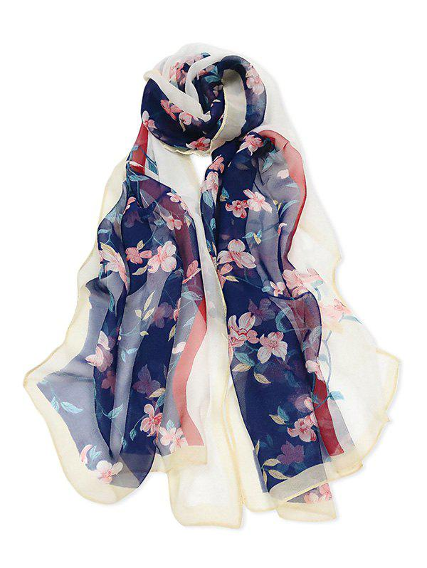 Cheap Floral Printed Colorblock Long Scarf