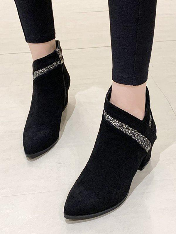 Best Pointed Toe Glitter Embellished Ankle Boots