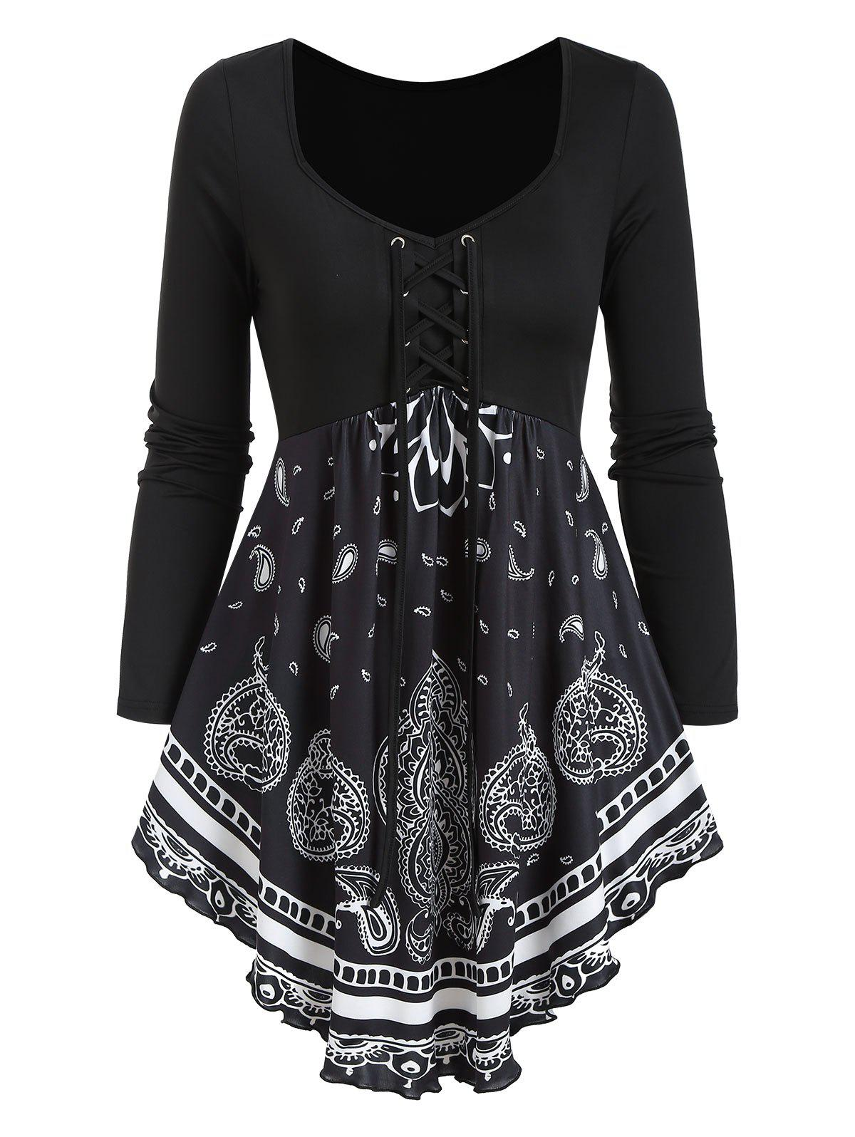 Outfit Paisley Print Lace Up Long Sleeve T Shirt