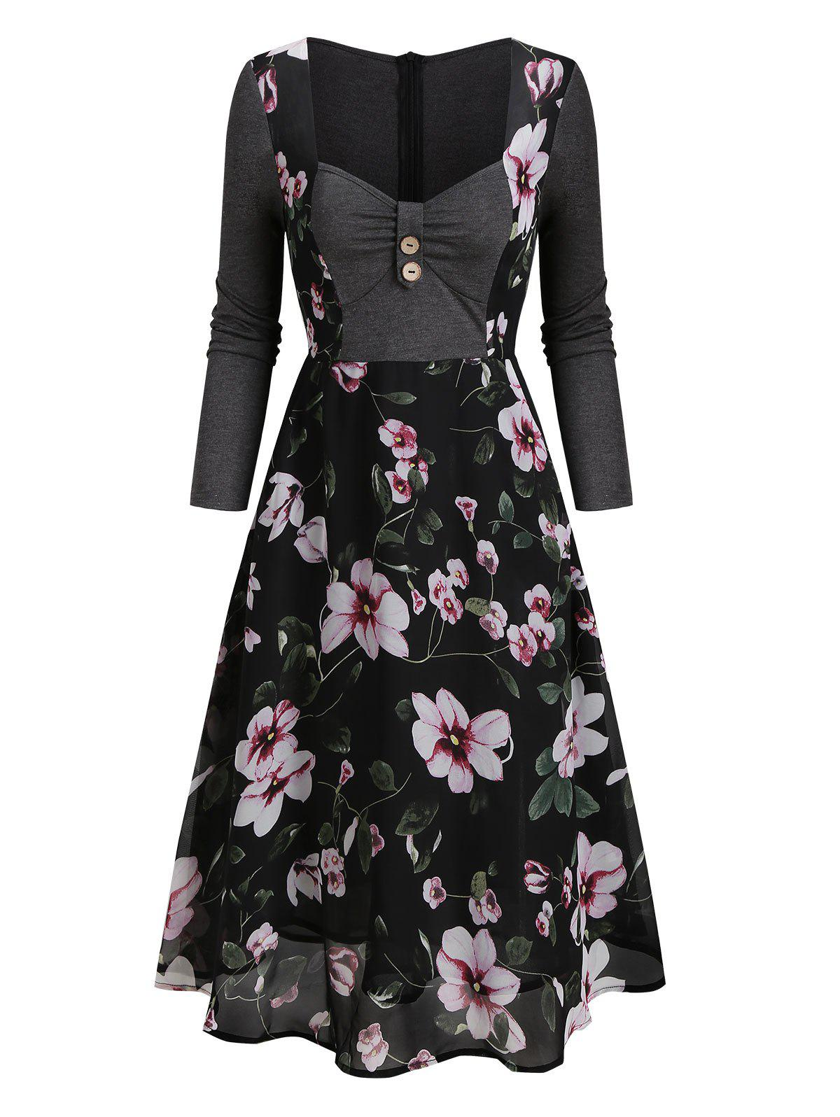 Discount Floral Print Sweetheart Neck Overlay Mesh Dress