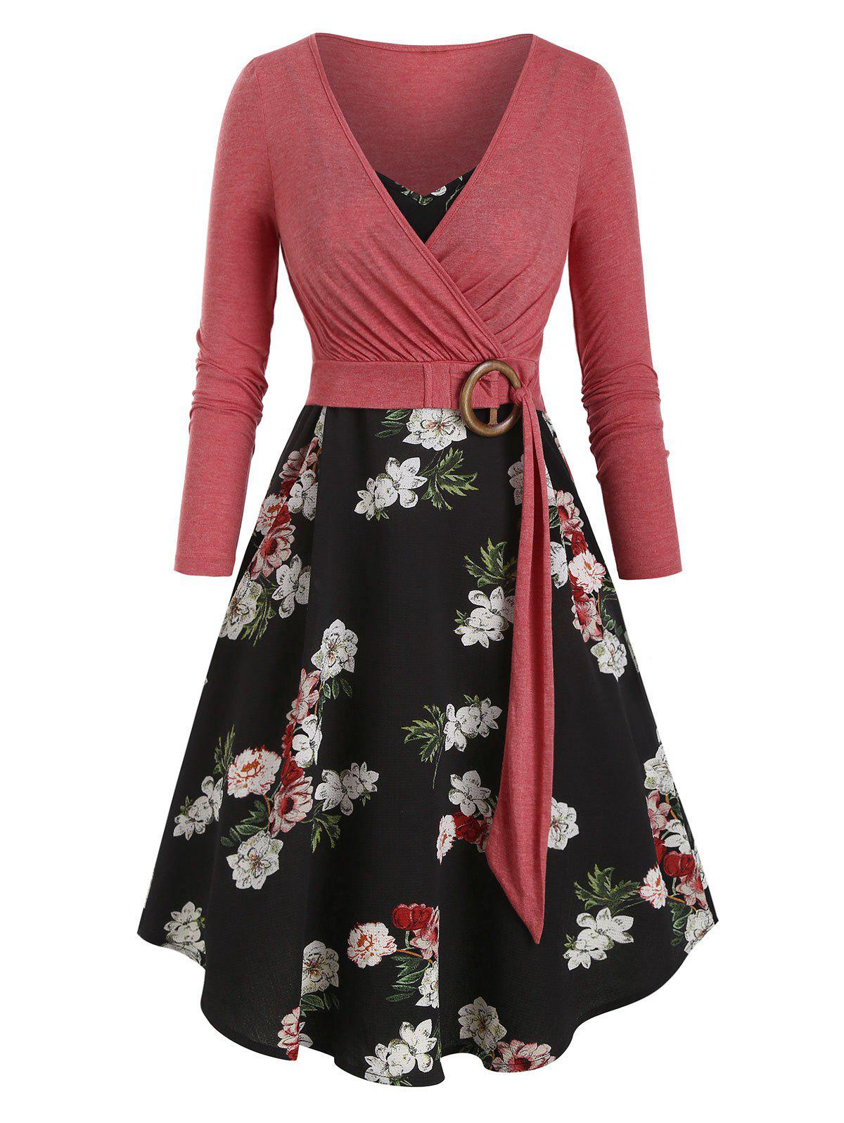 Best Floral Print Belted Two Piece Dress