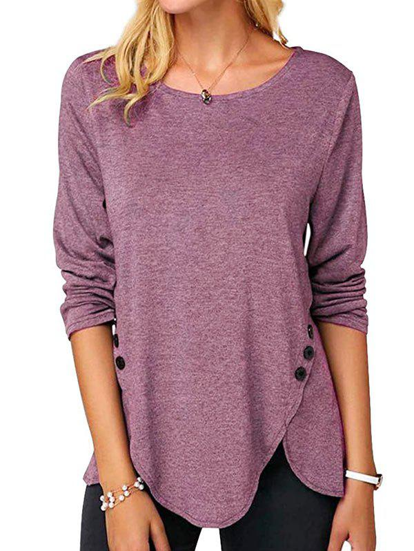 Buttoned Long Sleeve Slit Tee фото