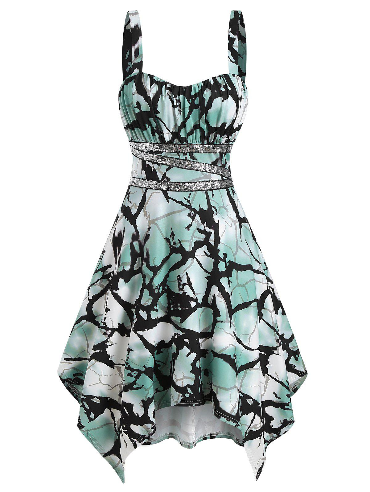 Outfit Printed Sequins Panel Cami Asymmetrical Dress
