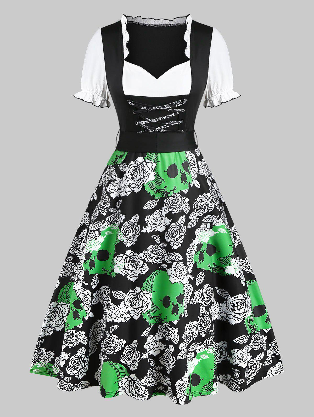 Hot Floral Skull Print Lace Up Dirndl Dress