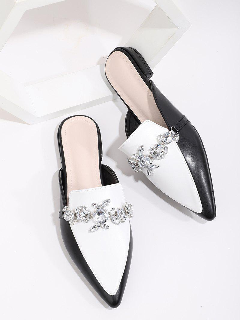 Trendy Colorblock Rhinestone Slides Flat Shoes
