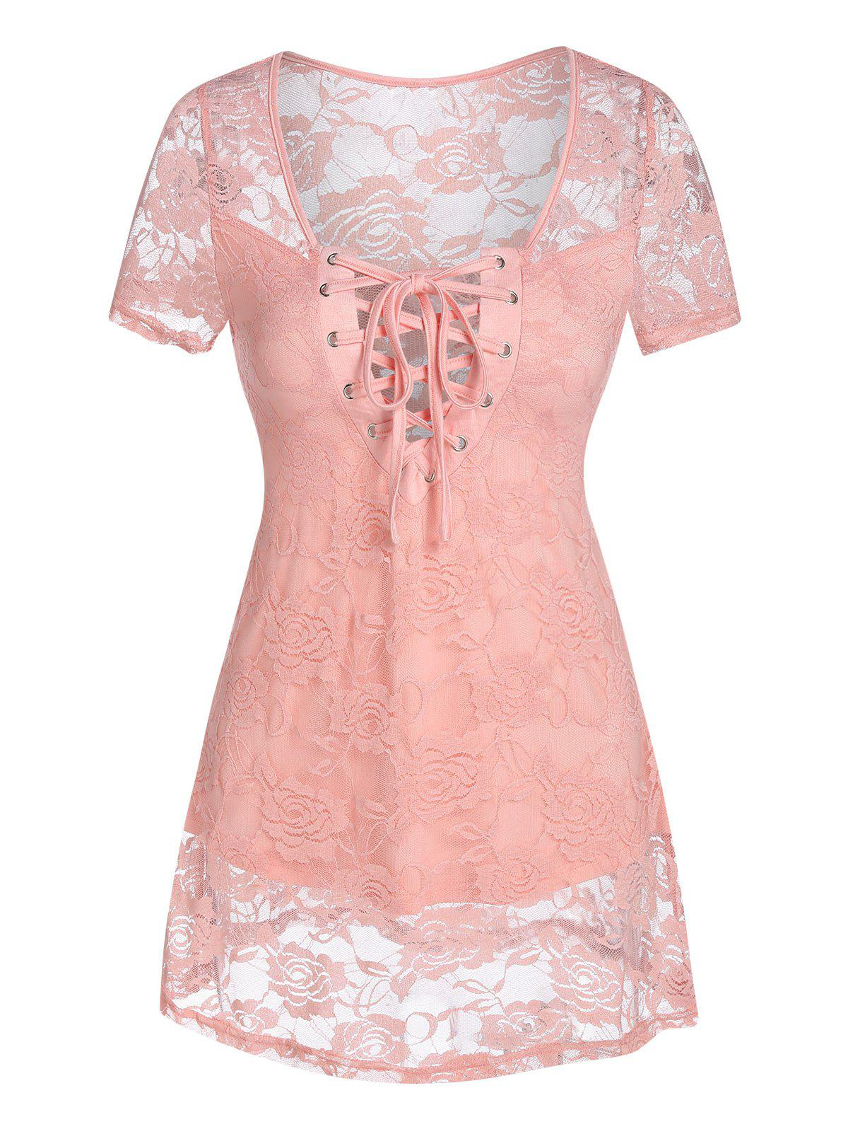 Affordable Lace-up Flower Lace Top