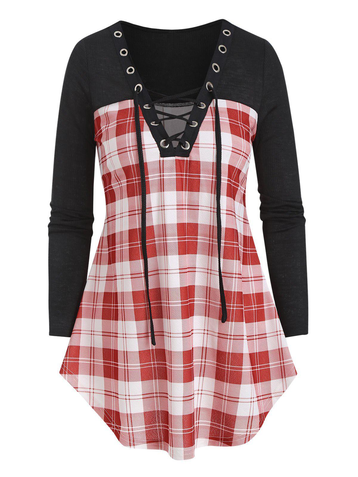 Buy Lace Up Plaid Patch Curved T Shirt