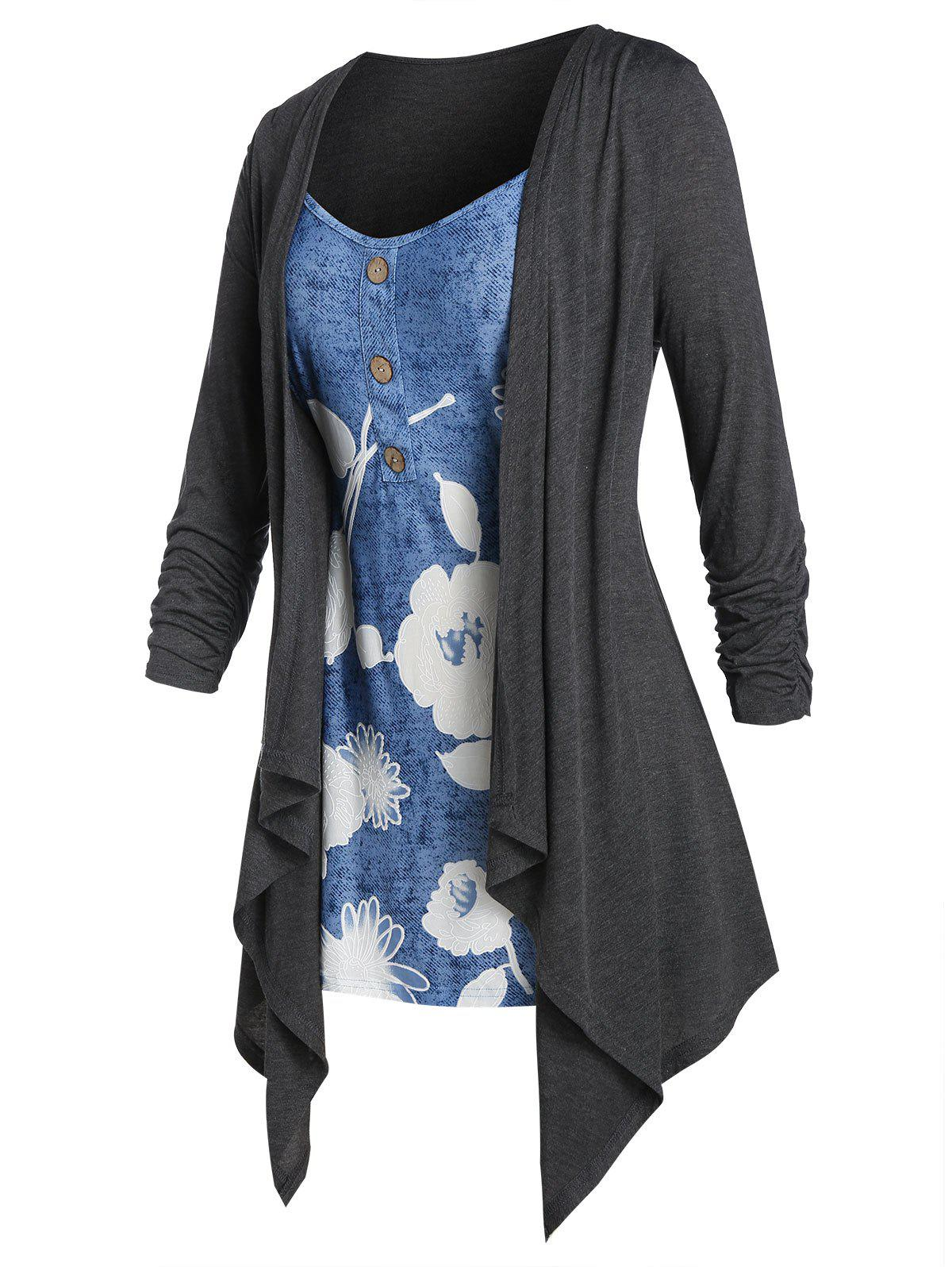 Discount Plus Size Flower 2 In 1 Draped Waterfall Tunic Tee