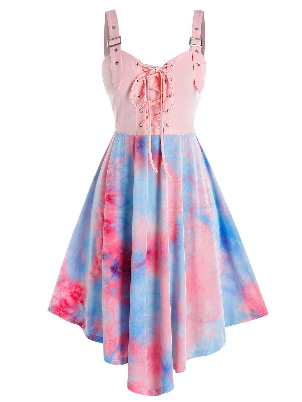 Online Plus Size Tie Dye Lace-up Buckle Eyelet Backless Dress
