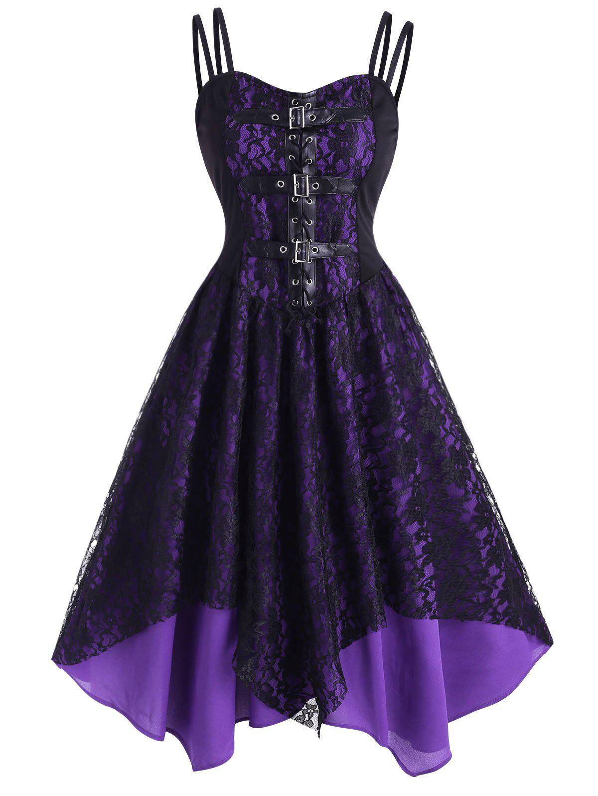 Cheap Lace Overlay Lace-Up Dual Straps Handkerchief Dress