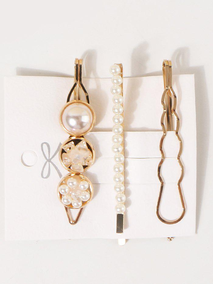 3 Pieces Pearl Embellished Gold Hairpins