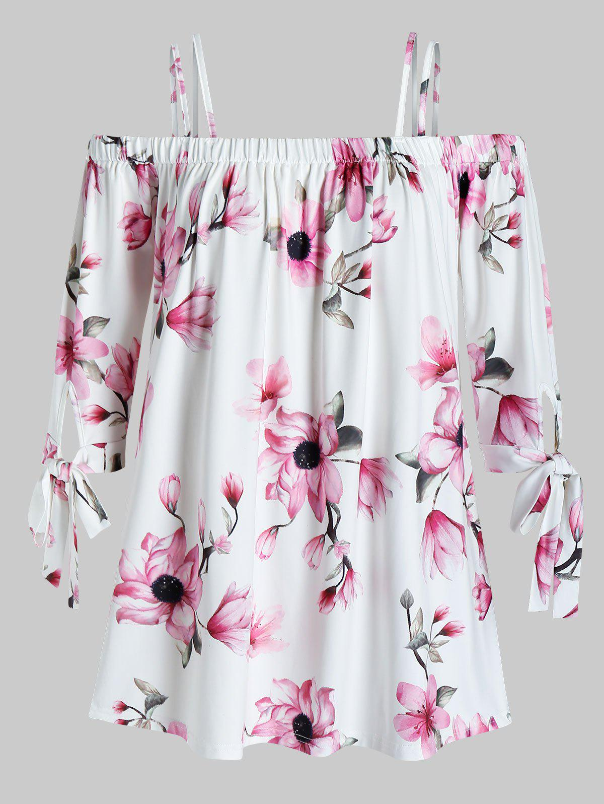 Outfits Plus Size Flower Pattern Cold Shoulder Blouse