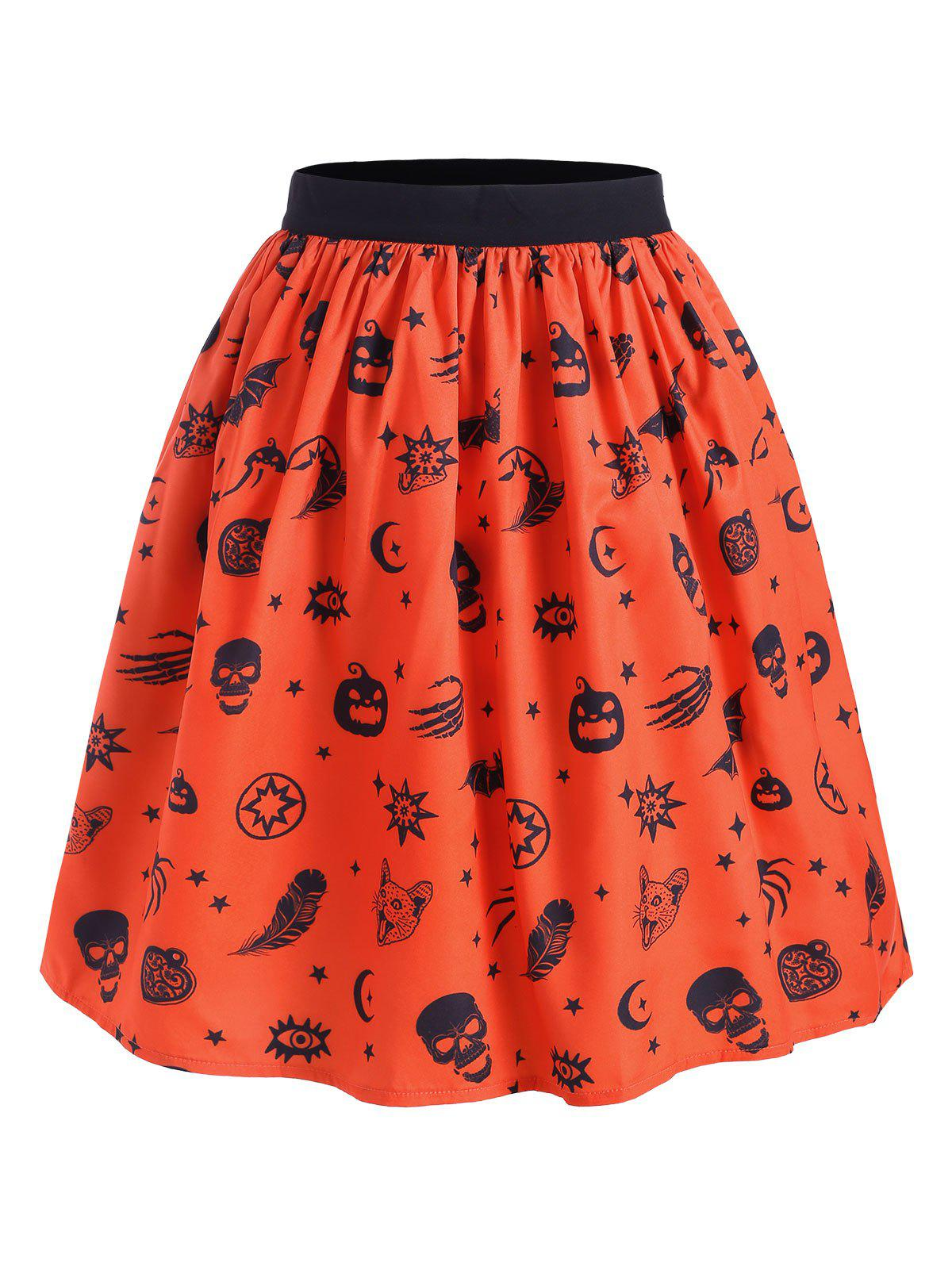 Jupe Evasée d'Halloween Main Squelette Citrouille Orange XL