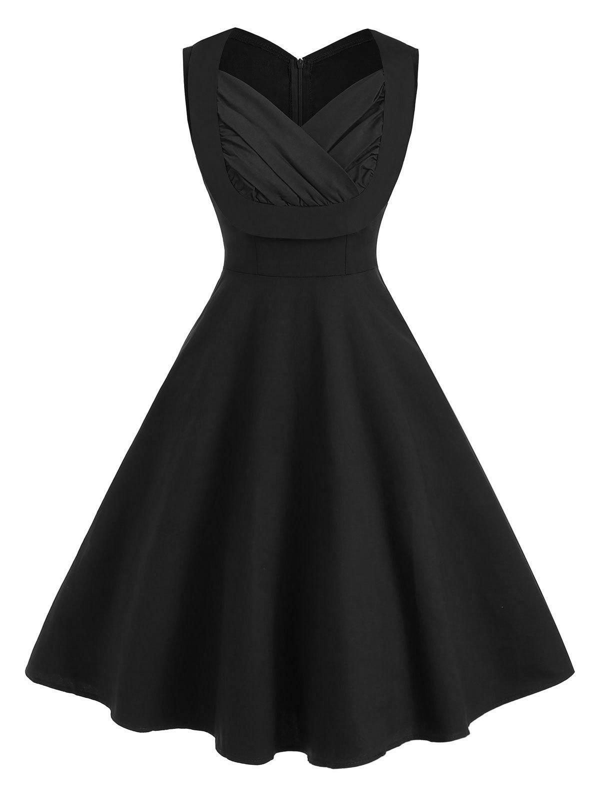 Fashion Sweetheart Neck Ruched A Line Sleeveless Vintage Dress