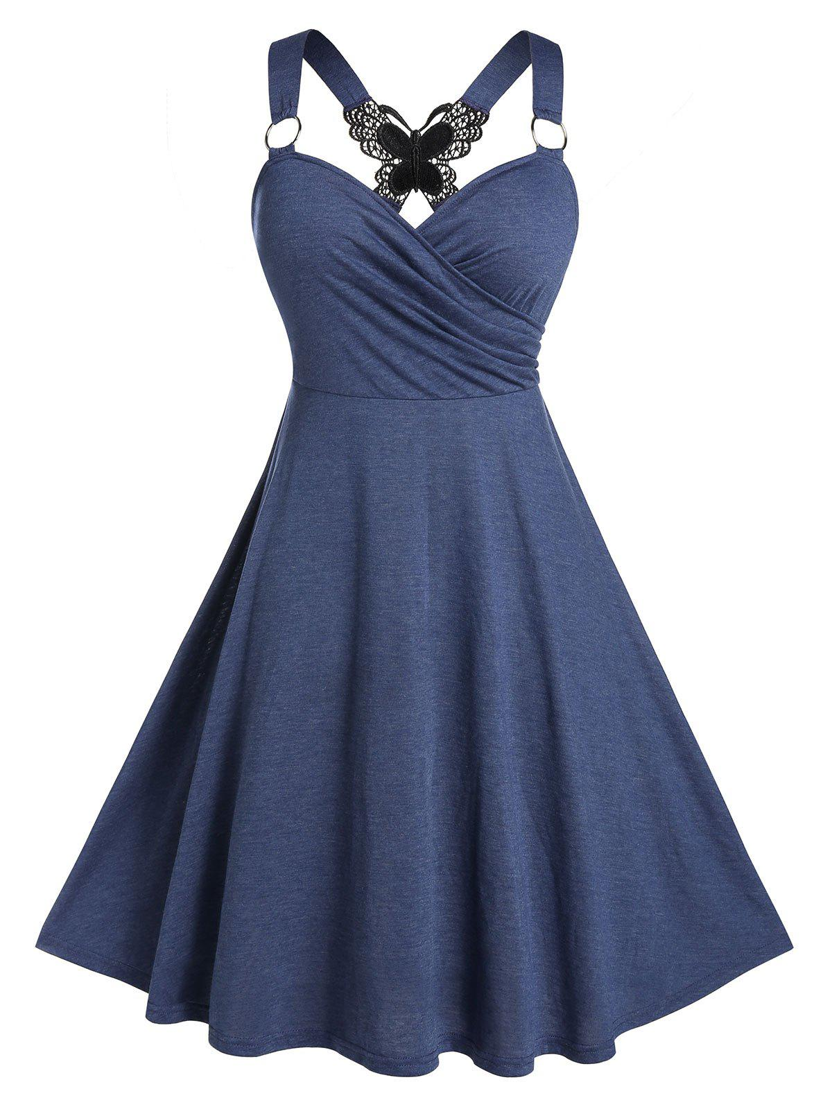 Store Plus Size Back Butterfly O Ring Wrap Dress