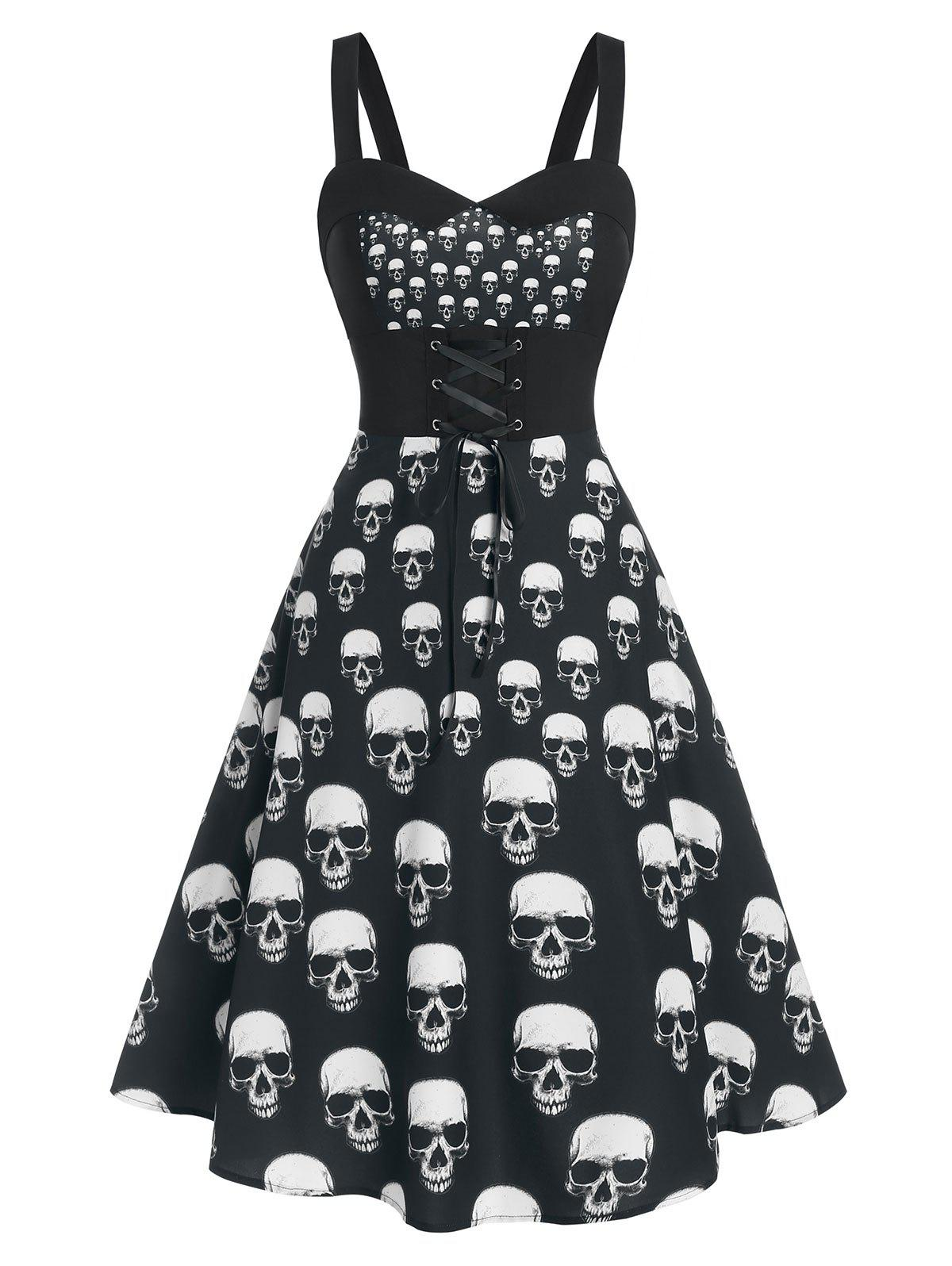 Skull Print Lace Up Cami Mid Calf Dress фото