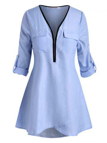 Plus Size Roll Up Sleeve Half Zip High Low Blouse