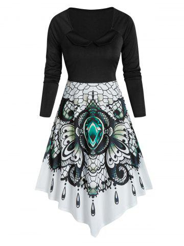Printed High Waist Asymmetrical Dress