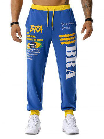 Brazilian Flag Graphic Print Sports Pants - BLUE - S