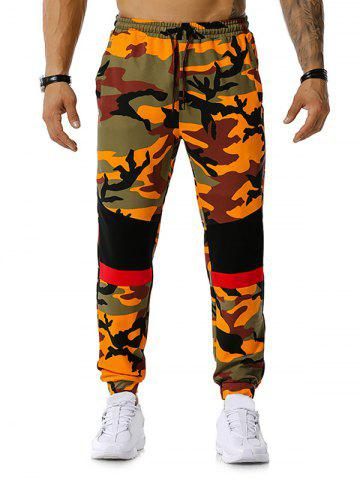 Pantalon de Jogging Décontracté Camouflage Imprimé en Blocs de Couleurs - ORANGE - 2XL