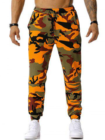 Pantalon Décontracté Camouflage Imprimé à Cordon - ORANGE - 2XL