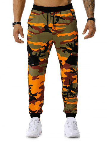 Drawstring Camouflage Print Sports Pants - ORANGE - XL