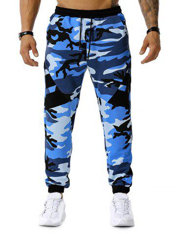 Drawstring Camouflage Print Sports Pants - BLUE - XL