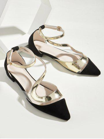 Transparent Panel Pointed Toe Ankle Strap Flat Shoes