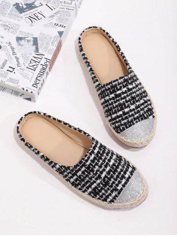 Shiny Toe Tweed Espadrilles Half Flat Shoes - BLACK - EU 39