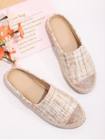 Shiny Toe Tweed Half Flat Shoes - SAKURA PINK - EU 39