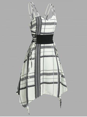 Plaid Pattern Lace-up Waist Handkerchief Dress