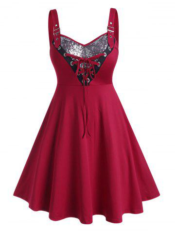 Plus Size Lace Up Sequined A Line Dress - RED WINE - L