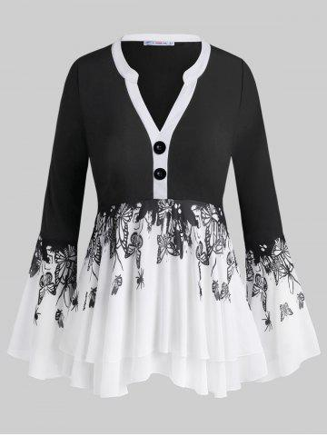 Button Front Layered Insect Butterfly Plus Size Blouse - BLACK - L
