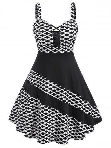 Plus Size Geometric Print Cross Asymmetric Dress