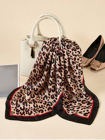Leopard Printed Square Satin Scarf - DEEP RED