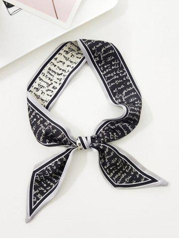 Letter Printed Satin Narrow Long Scarf
