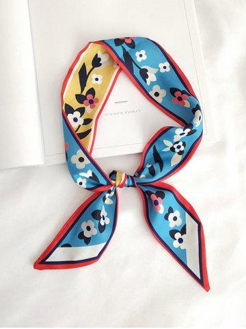 Floral Letter Printed Satin Narrow Ribbon Scarf - BABY BLUE
