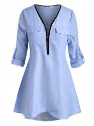 Plus Size Roll Up Sleeve Half Zip High Low Blouse -