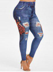 Plus Size High Rise Butterfly Floral Print Leggings -