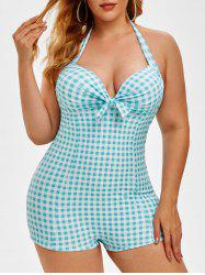 Plus Size Halter Backless Gingham One-piece Swimsuit -